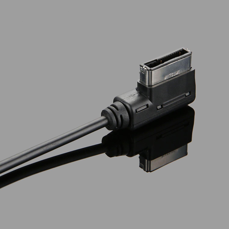 SODIAL Cable AUX Adaptador de Interfaz AMI MMI de Musica de Coche 3.5mm Mini Jack AUX MP3 Cable para VW Audi A3 A5 A6 A8 Q3 Q5 Q7 Estilo de Coche