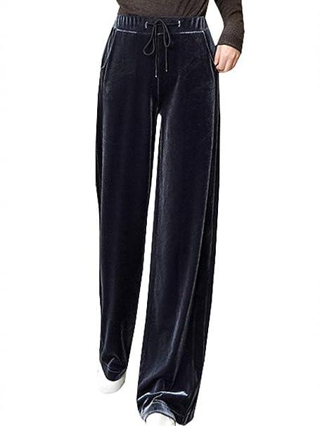 Pantalones Deporte Mujer Cintura Alta con Cordón Terciopelo Pierna Ancha  Pantalones Fashion Niñas Ropa Anchas Ocasional Entrenamiento Pantalon  Deporte ... 2da4799ff4e3