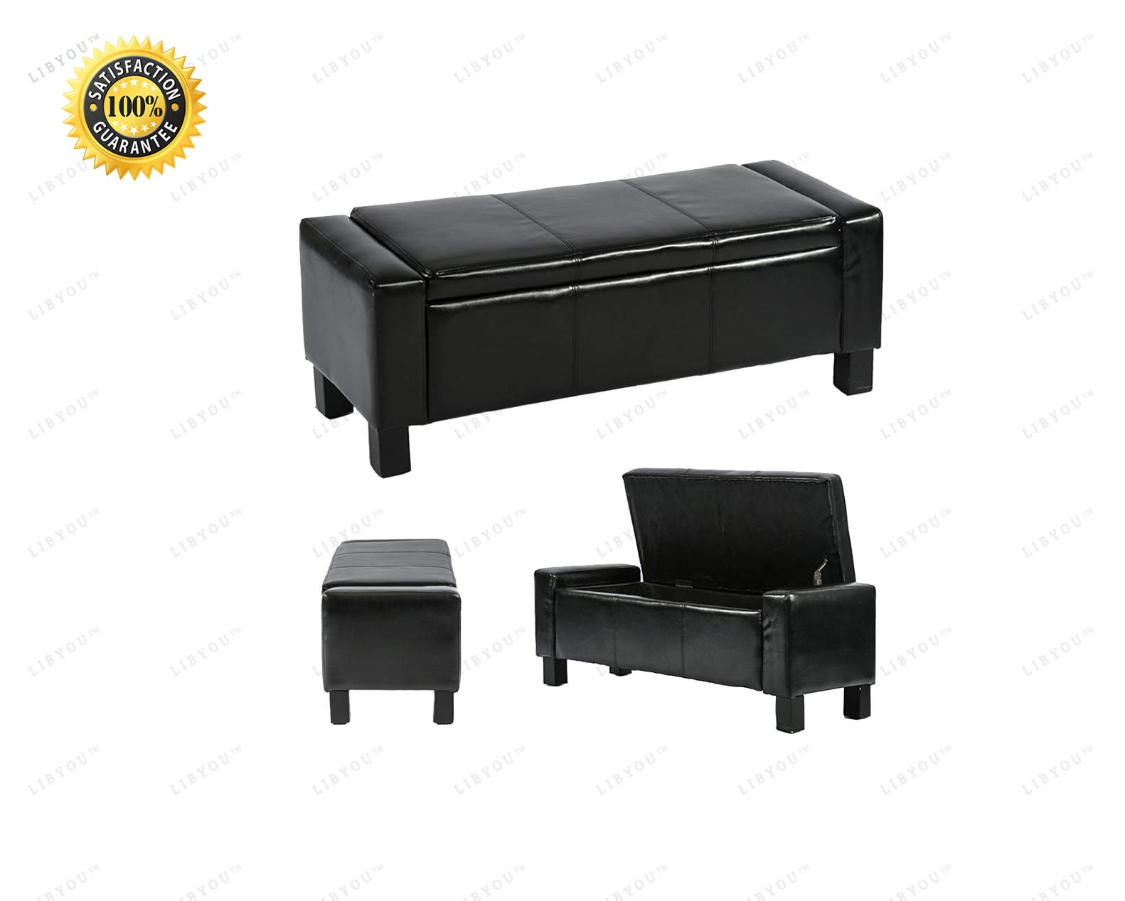 LIBYOU__Storage Ottoman Bench, Bedroom Bench,Leather Storage Ottoman,Faux Leather Ottoman,Folding Storage Bench,Ottoman Storage Bench,Ottoman, Footstool,Pouf,Leather Storage Ottoman, Storage Bench