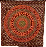 Luna Bazaar Devii Elephant Mandala Tapestry, Bohemian Wall Hanging, and Bedspread (Large, 7 X 8 Feet, Orange and Green,