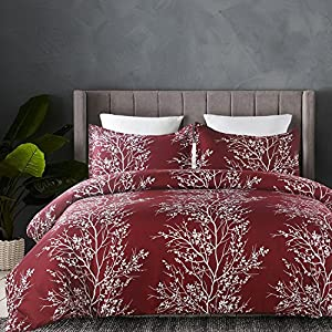 Vaulia Lightweight Microfiber Duvet Cover Set, Printed Pattern Design - Burgundy Color, Queen Size