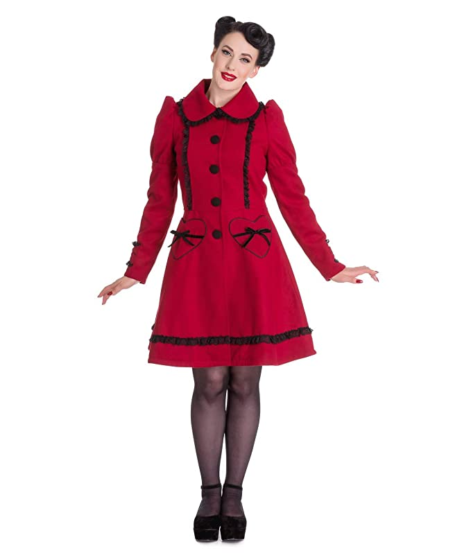 Vintage Coats & Jackets | Retro Coats and Jackets Hell Bunny 50s Vintage Rockabilly Winter Lace Coat Courtney Burgundy £37.99 AT vintagedancer.com