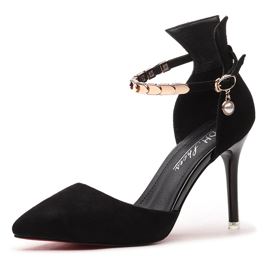 Youxuan Women's Elegant D'Orsay Pump Ladies Fashion Stiletto Ankle Strap Shoe Black 5.5M US