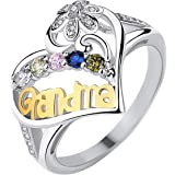 Btruely Women's Exquisite Ring,Mom Loves You Forever Rings Wedding Ring Jewelry Gifts Rhinestone Dazzling Ring