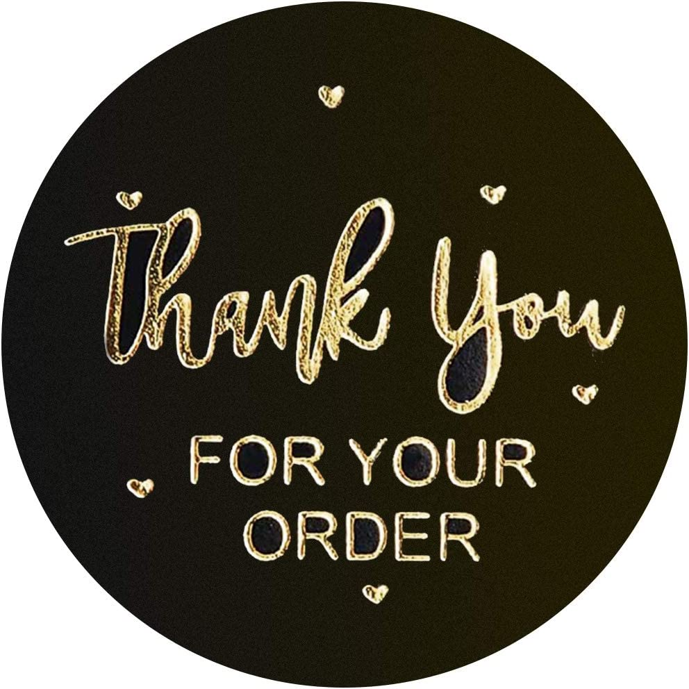 Amazon Com 1 5 Inch Black Gold Thank You Stickers Roll For Your Order Labels For Gifts Bags Business Envelopes Handmade Bubble Mailers Bags Personalized 500 Pcs 1 Roll Office Products