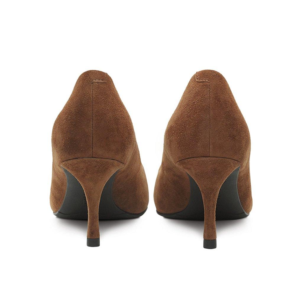 WYYY Damenschuhe High Heels Gut Gut Gut mit Flacher Mund Spitze Freizeitschuhe Karamell Farbe 6,5 cm (Größe   EU35 UK3) 969764