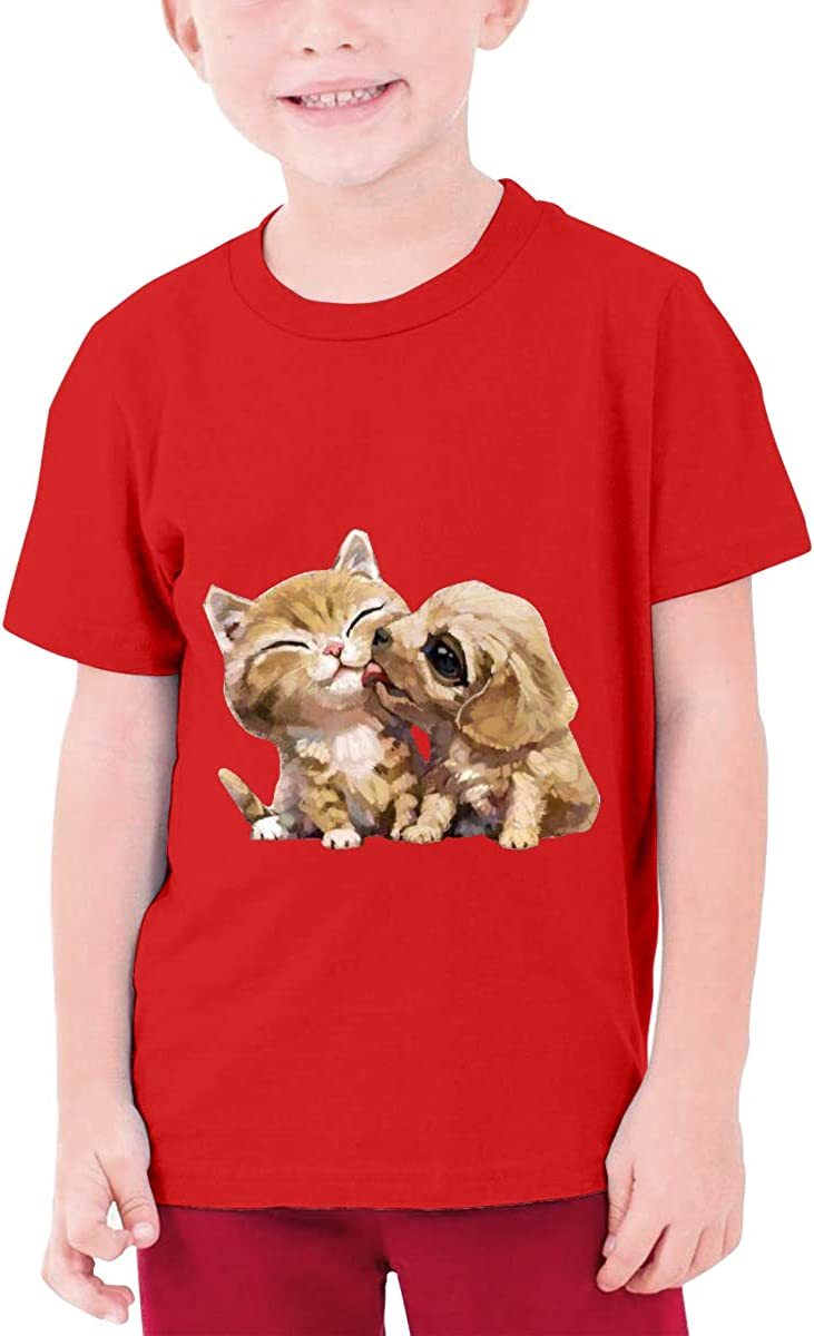DUANIER Custom Cat and Dog Funny T Shirts O-Neck for Teenagers Black