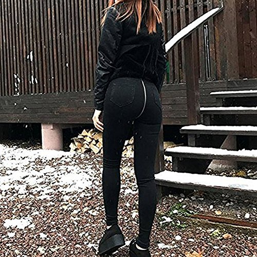 au dcontracts Fashion Lady Sexy taille Pantalon Denim Jeans avec dos Pantalon glissire Straight Stretch Femmes Pantalons fermeture Denim Denim Jeans Noir haute New qg0W1A