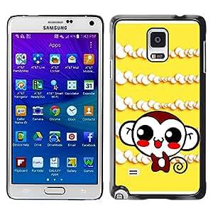 TopCaseStore / la caja del caucho duro de la cubierta de protección de la piel - Cute Monkey Laugh - Samsung Galaxy Note 4 SM-N910