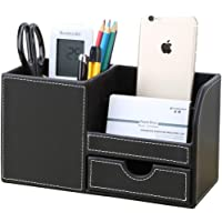 KINGFOM Wooden Struction Leather Multi-function Desk Stationery Organizer Storage Box Pen/Pencil,Cell phone, Business…