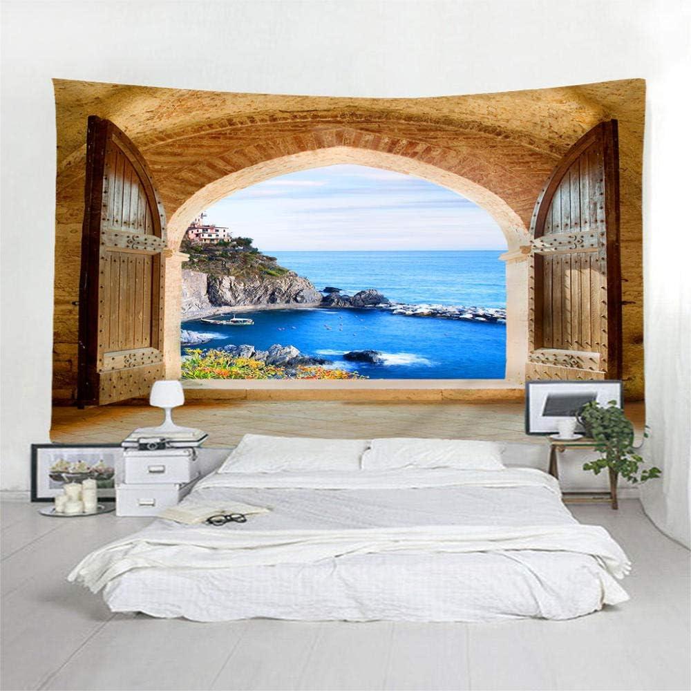 HYLSF Maison Salon D/écor Porte Vue sur La Mer 3D Num/érique Imprim/é Art Tapisserie Mur Tenture Plage Serviette De Couverture Couverture Polyester Artisanat Fond Tissu Mural