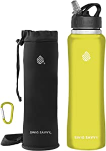 SWIG SAVVY Stainless Steel Water Bottle with Straw Lid | BPA-Free Vacuum Insulated Double Walls & Wide Mouth Design | Reusable Sports Drinking Water Container with Carrying Sleeve Pouch - 24oz Yellow