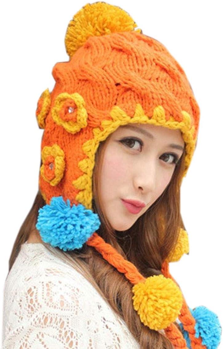 ALLDECOR Candy Color Earmuffs Hat Women Winter Flower Handmade Knit Braid Beanie