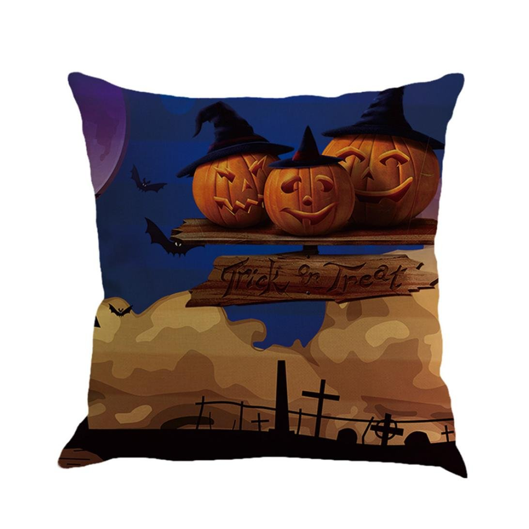 Gotd Vintage Halloween Pillow Covers Decorative Throw Pillow Case Cushion Pumpkin Happy Halloween Decorations Decor Clearance Indoor Outdoor Festive Party Supplies (Multicolor C)