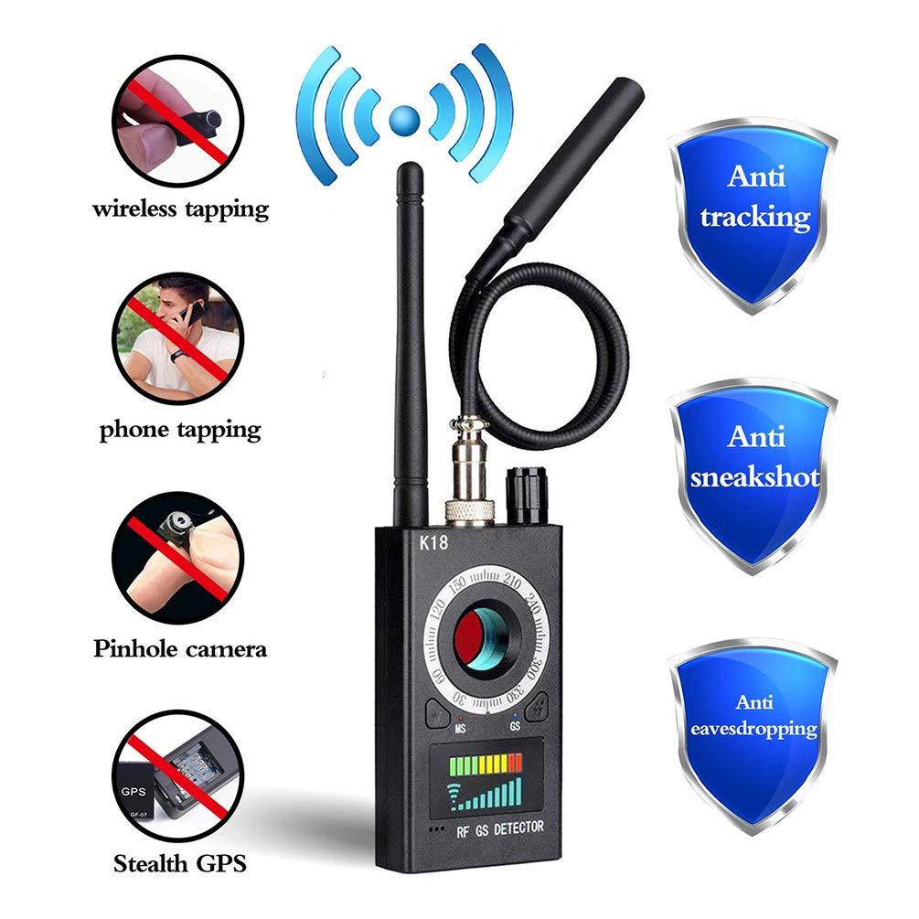 Anti Spy Detector, RF Detector & Camera Finder, Bug Detector, Upgraded RF Signal Detector, FEEKE GSM Tracking Device for Wireless Audio Bug Hidden Camera Detector (Black) by Feeke