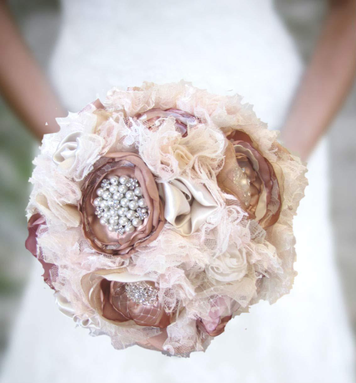 Amazon Com Dusty Rose Gold Wedding Bouquet Blush Pink Champagne