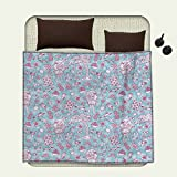 smallbeefly Hawaii emergency blanket Tropic Doodle with American Girl Wearing Grass Skirt Flower Patterned ShirtPrint Pale Blue Pink