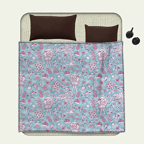 smallbeefly Hawaii emergency blanket Tropic Doodle with American Girl Wearing Grass Skirt Flower Patterned ShirtPrint Pale Blue Pink by smallbeefly
