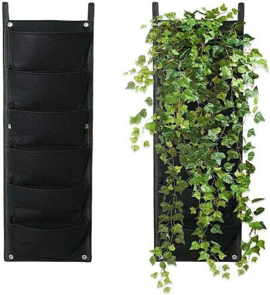 Vertical Garden Planter 7 Pocket Wall-Mounted Planting Flower Grow Bag Vegetable Living Garden Bag Home Supplies for Yard Garden Home Decoration (Black)