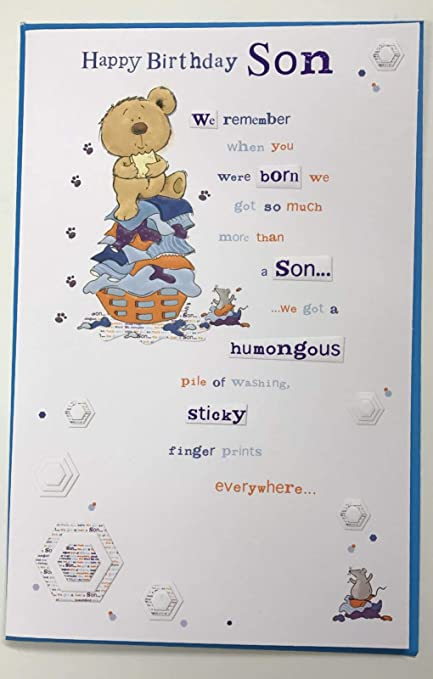 Amazon Forget Me Not Son Birthday Card Bear Verse 10 X 65