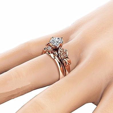 Chaofanjiancai Womens Ring,Diamond Flower Ring Crystal Diamond Engagement Wedding Ring for Women Girl