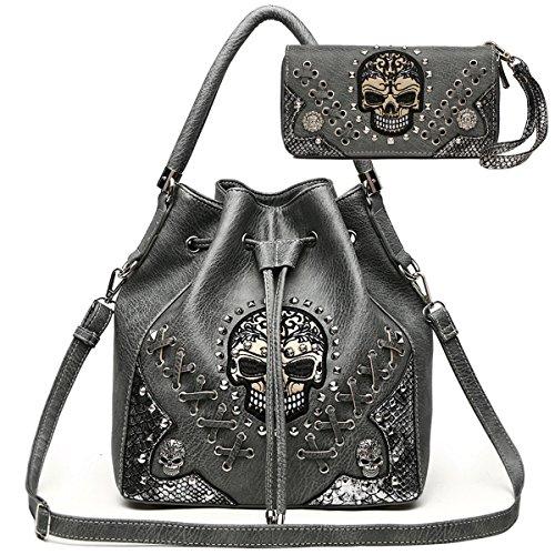 Sugar Skull Punk Art Rivet Studded Concealed Carry Purse Women Handbag Fashion Shoulder Bag Wallet Set (Gray Set) (Bag Fashion Carry)