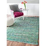 nuLOOM Handmade Flatweave Stiped Chevron Cotton Green Rug (4  x 6 )