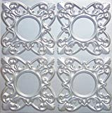 Discounted Faux Tin Silver Ceiling Tile,# 133 Can Be Glue On,staple On,tape On,nail On! Clean Smooth Flat Surface, Also Can Glue Over Popcorn Pvc 24''x24'' with Overlaping Edges