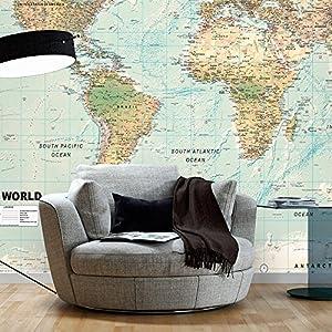 murando Fotomurales autoadhesivo 245×175 cm Papel Pintado Decoración de Pared Murales Pegatina decorativos adhesivos 3d moderna de Diseno Fotográfico Mapamundi Mapa del mundo k-a-0091-a-d