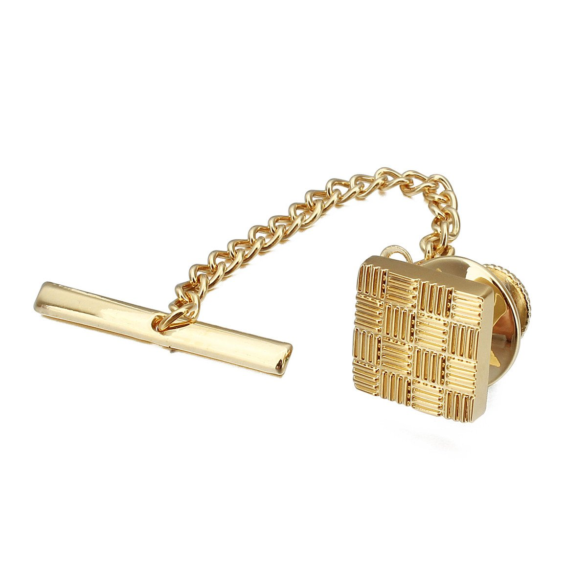 HAWSON Mens Square Tie Tack with Chains Check Tie Clip Button by HAWSON