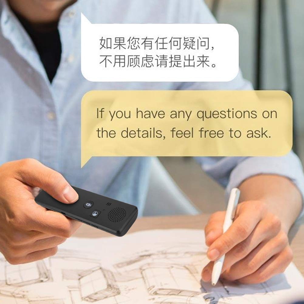 Portable Intelligent Real-time Voice Translator Multi Language Translation Device with APP Pocket Interpreter for Business Travel Shopping English Chinese French Spanish Japanese Arabic - Black by ASHATA (Image #2)