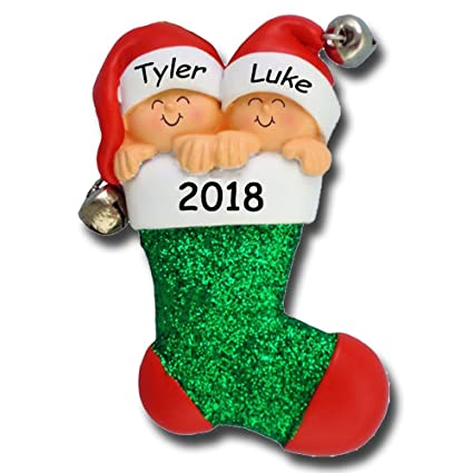 Amazon.com  Personalized 2018 Twins in Stocking Christmas Ornament ... 6cac36435c1