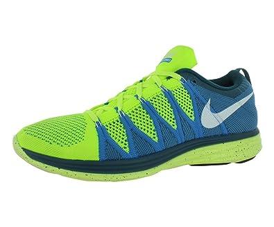Nike Flyknit Lunar2 Mens Running Shoes 620465 714 Volt White Blue Glow Night