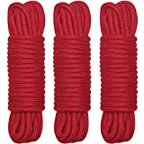 BONTIME All-Purpose Collection Cotton Rope,32 FT Length,1/3-Inch Diameter(Red,Set of 3)