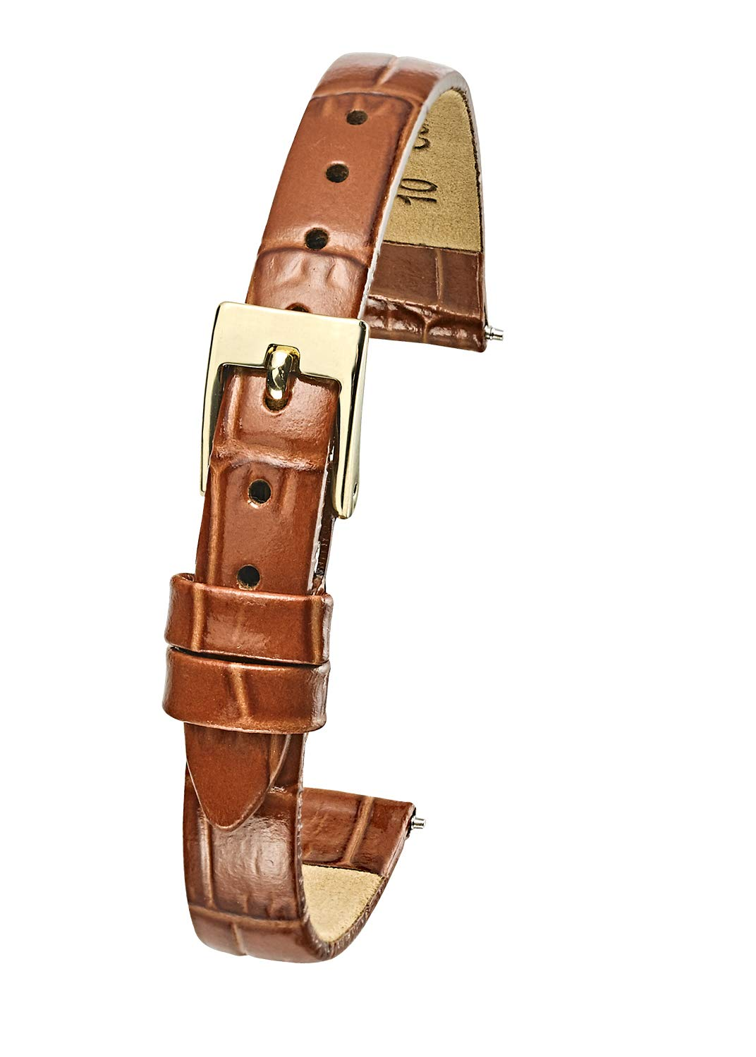 Genuine Leather Watch Band Strap in Shiny Alligator Grain Finish - 10mm - Brown