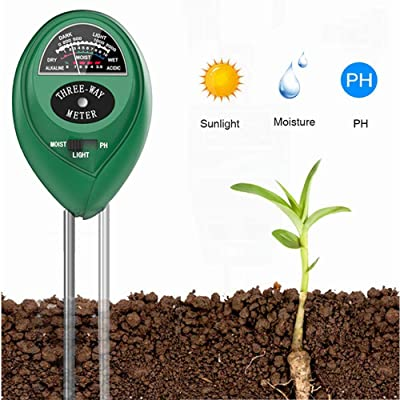 Soil PH Meter Soil Moisture Sensor 3-in-1 Soil Moisture/Light/pH Test Kit for Indoor/Outdoor Plants Care(No Battery Needed) : Garden & Outdoor