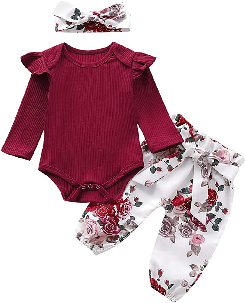 Floral Printed Pants with Headband 3Pcs Newborn Outfits PICK YOUR LOOK Infant Baby Girl Clothes Long Sleeve Ruffle Romper Sweatshirt