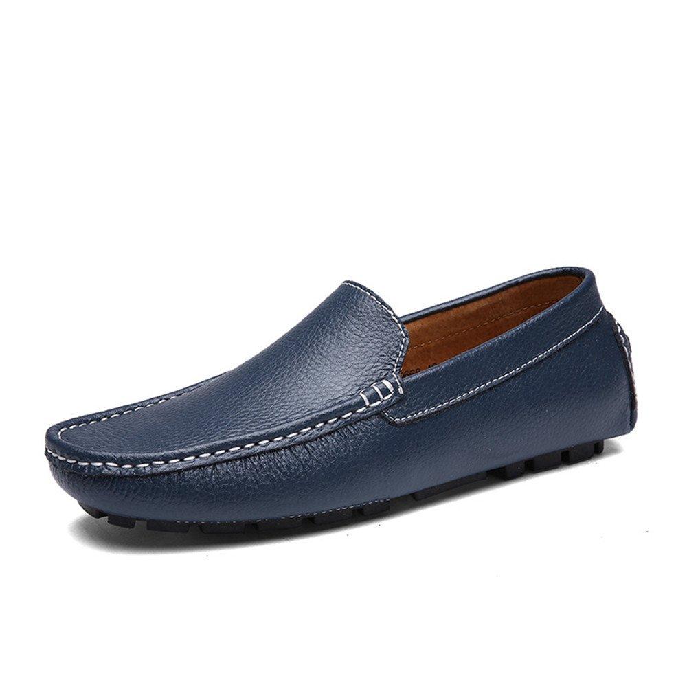 Jiuyue-shoes Conducción de los Hombres Penny Mocasines Bare Vamp Ocio Barco Mocasines Suela de Goma Suave (Color : Azul, tamaño : 46 EU): Amazon.es: Hogar