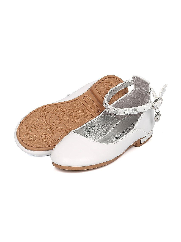 Girls Leatherette Rhinestone Ankle Strap Charmed Ballet Flat HJ47