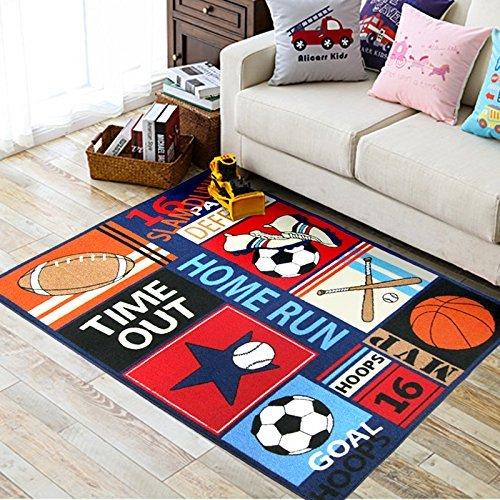 Fun Sport Kids Rugs Soccer baseball football basketball With Multi-Color for Boy Girl Playroom 51x 39inch