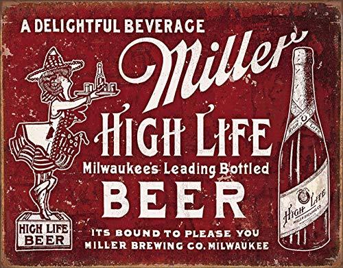 "Desperate Enterprises Miller High Life Beer - Bound to Please Tin Sign, 16"" W x 12.5"" H"