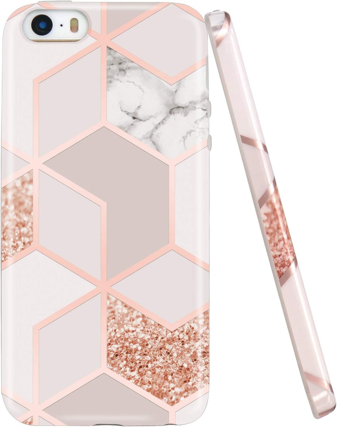 JAHOLAN Bling Glitter Sparkle Rose Gold Marble Design Slim Shockproof Clear Bumper TPU Soft Case Rubber Silicone Cover Phone Case Compatible with iPhone 5 5S
