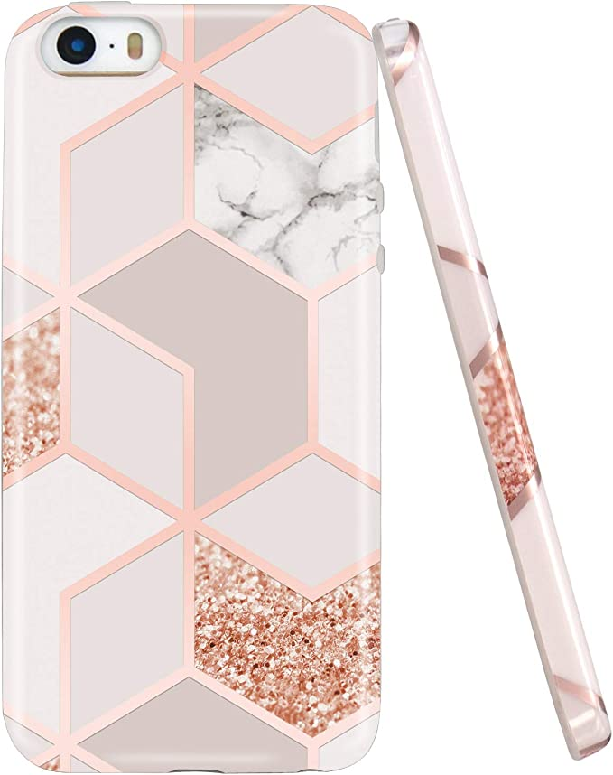 Jaholan Coque iPhone 5 Coque iPhone 5S Bling Glitter Sparkle Rose Gold Marbre Design Coque TPU Gel Housse Etui Protection Ultra Fine Mince Léger Case ...