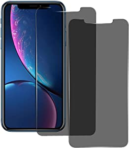 Asstar Privacy Tempered Glass Screen Protector for Apple iPhone 11 (Xi) 2019 / Xr 6.1 Inch, Privacy Tempered Glass Screen Protector Black Film Anti Spy / Scratch Easy Install Case-Friendly (2 Pack)