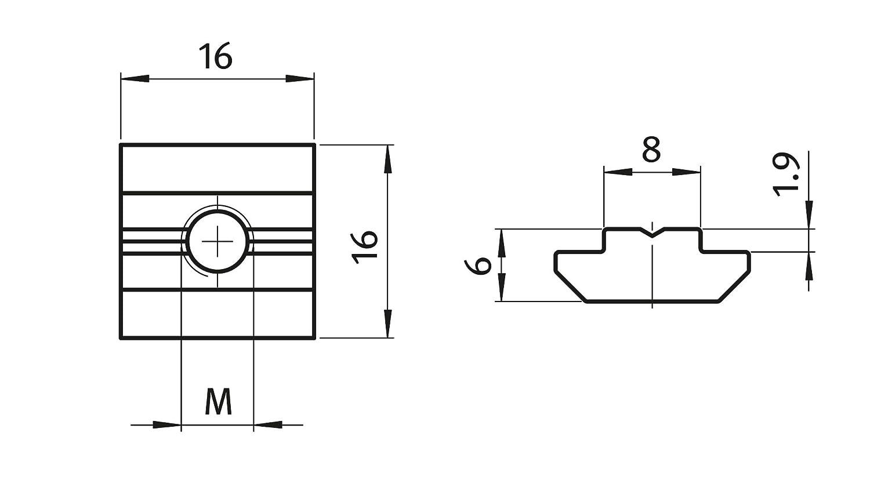 schwer Typ B Stahl verzinkt 10x Nutenstein Nut 8 M4 mit Steg