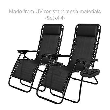 New Modern Zero Gravity Chair Outdoor Patio Adjustable Recliner Comfortable  Padded Headrests And Armrest W/