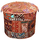 Stylo Culture Ethnic Bohemian Patchwork Pouf Cover Round Patchwork Embroidered Pouffe Ottoman Cover Brown Cotton Floral Traditional Furniture Footstool Seat Puff Cover (16x16x13)