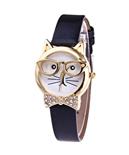 Datework Cute Glasses Cat Analog Quartz Dial Wrist Watch (Black)