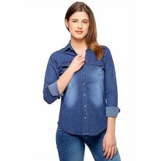 f58eeba88c ItkiUtki Girls   Women s Casual Long Sleeves Self Design Denim Dark Blue  Shirt ...