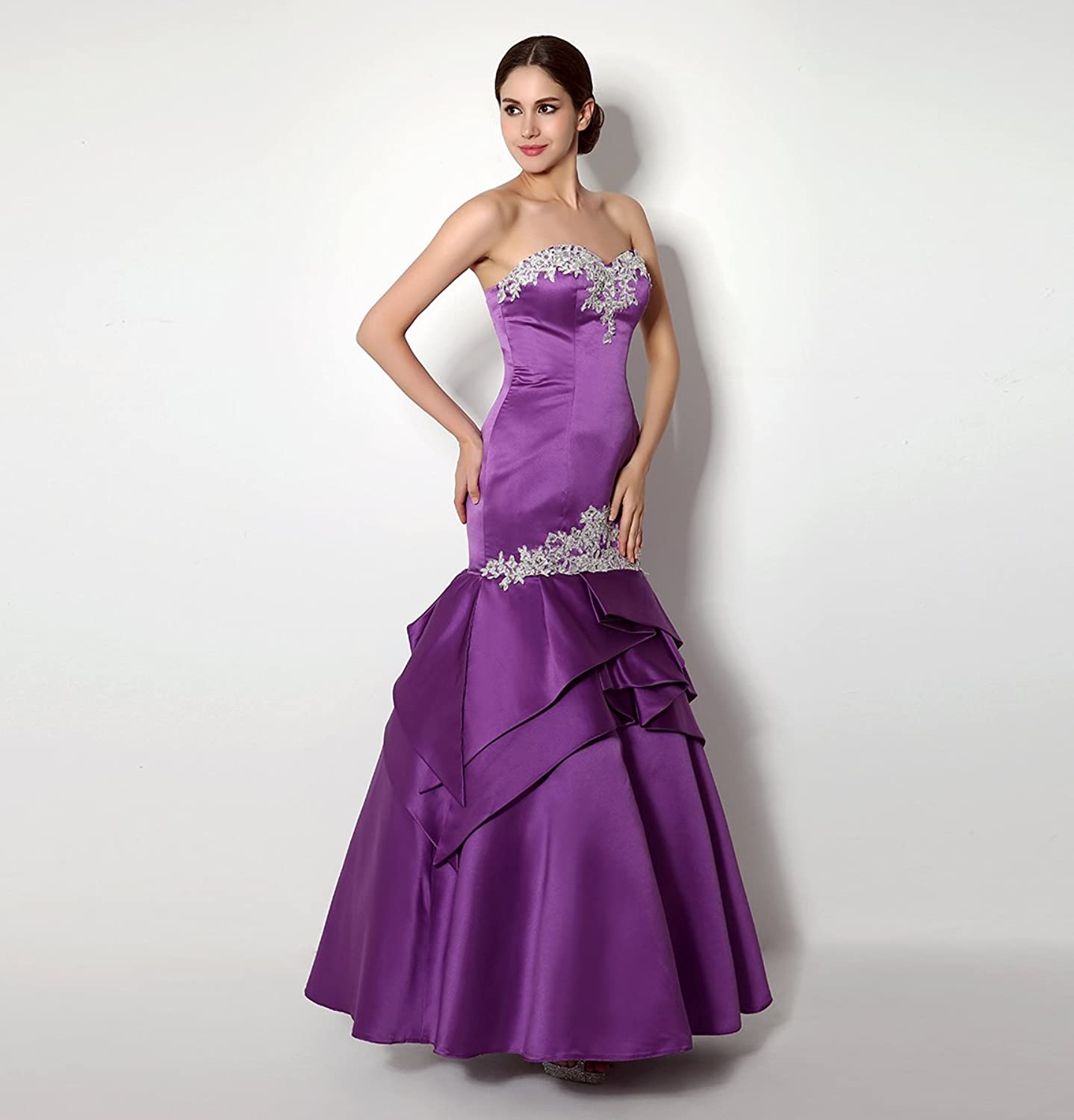 Bridal_Mall Women's Sweetheart Mermaid Satin Prom Gown